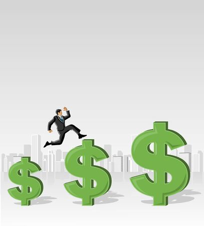 Business man jumping over money symbols Vector