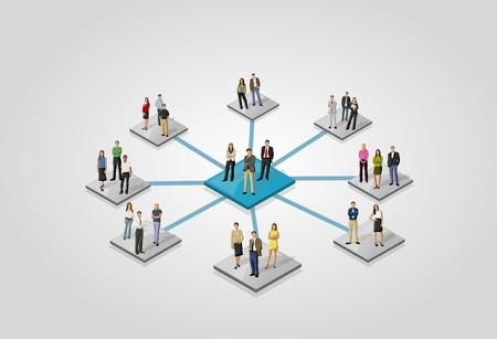 network marketing: Plantilla para el folleto publicitario con personas relacionadas de la red social