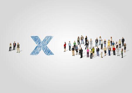 lidé: Šablona pro reklamní brožury s dvěma skupinami podnikatelů