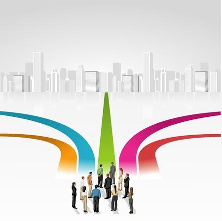 cruce de caminos: Grupo de hombres de negocios que elegir el camino correcto Múltiples opciones Vectores