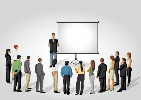 Business people and white billboard with empty space  Presentation screen  Vector