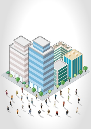 Template with business people in front of a isometric city Vector