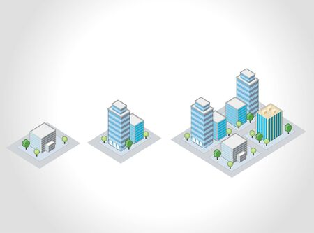 Template for advertising brochure with isometric city Vector