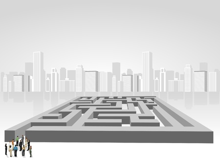 lost city: Group of business people choosing the right way of a maze  Multiple options
