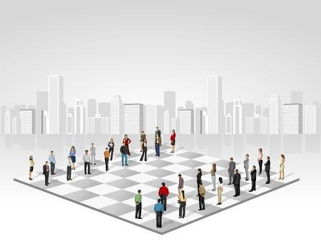 Plantilla con dos grupos de gente de negocios en tablero de ajedrez Ilustración de vector