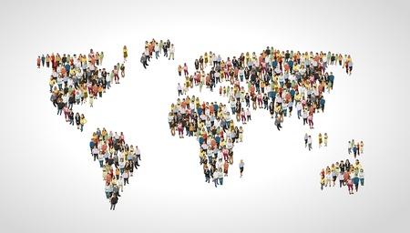 poblacion: Grupo de personas haciendo una forma de planeta tierra Vectores