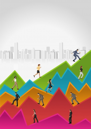 growth business: Template for advertising brochure with business people walking over chart