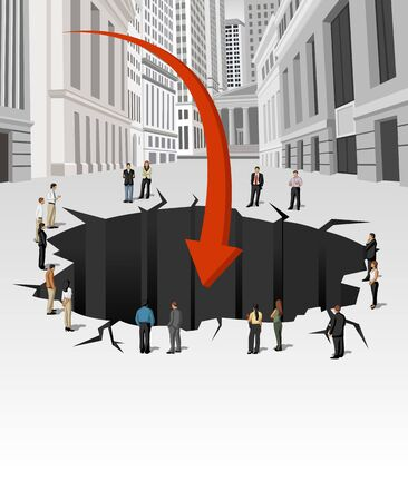Group of business people around hole on the street of downtown financial district in New York  Financial crisis   Vector