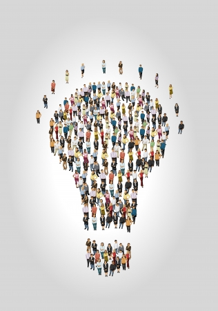 thinker: Group of business people in shape of light bulb idea