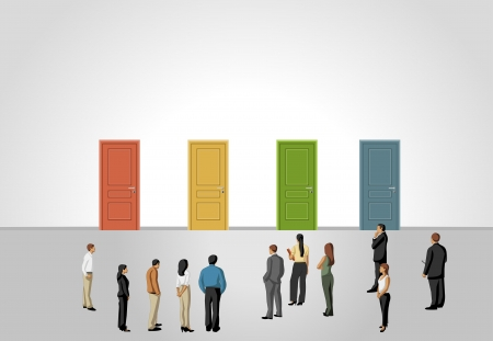 Group of business people choosing the right door  Multiple options  Vector