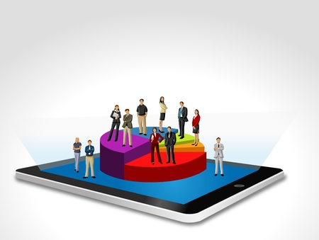 wireless network: Tablet with business people on chart
