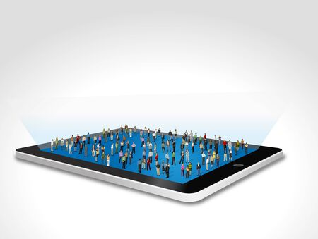woman cellphone: Tablet with big group of people Illustration
