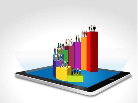 Tablet avec les gens d'affaires de plus de diagramme à barres