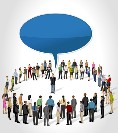 Template with a group of business people listening a man talking by speech balloon Vector