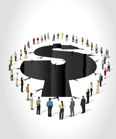 capitalismo: Grupo de executivos em torno de buraco com a forma de s