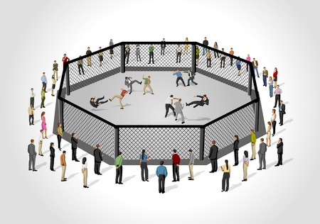 fight arena: Street fight, conflict between business people on octagon ring Illustration