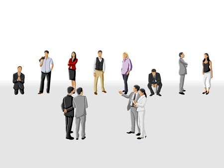 Template for advertising brochure with group of business people choosing the right person  Hiring selection Stock Vector - 16828882