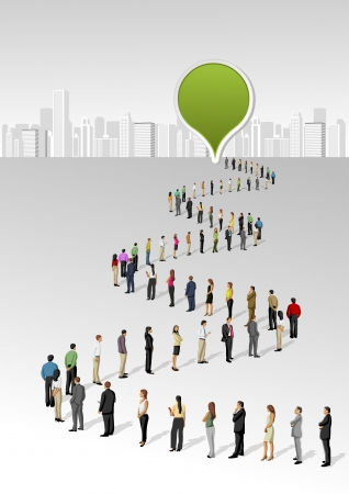 Template with a crowd of business people standing in a line Vector