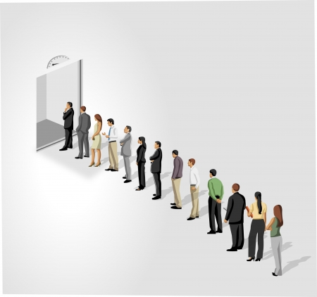 Gli uomini d'affari in piedi in una linea di fronte a una porta ascensore ascensore