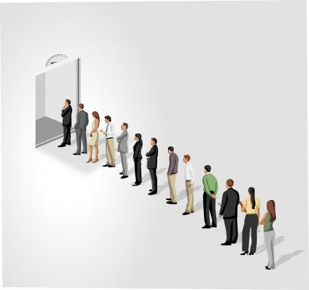 rows: Mensen uit het bedrijfsleven staan in een rij voor een lift liftdeur