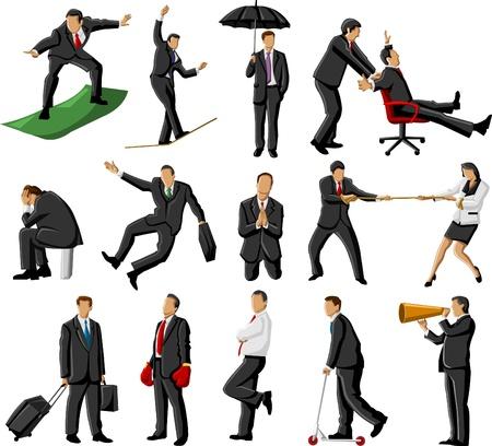 adversaire: Un groupe de gens d'affaires et de bureau faisant des choses folles Illustration
