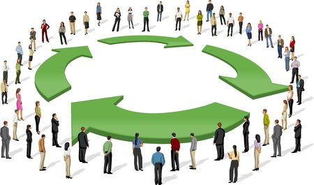 commercial recycling: Eco template for advertising brochure with business people around recycling symbol Illustration