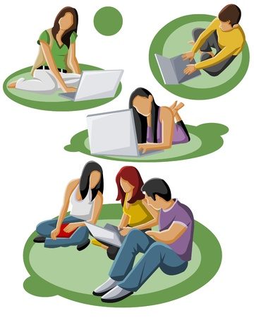 college girl: Group of teenager students with computer  Illustration