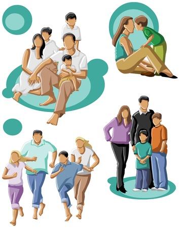 ni�os divirtiendose: familia feliz con una mam� y pap� con sus hijos