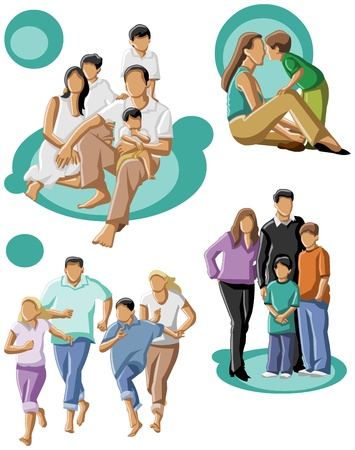 happy family with a mum and dad with their kids  Vector