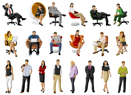 Group of business people on table with computer Vector