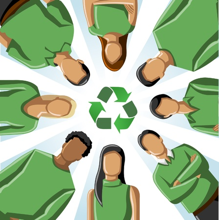 green clothes: Eco illustration of a circle of people in green clothes with recycling symbol  Illustration