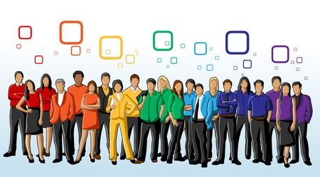 corporate culture: Colorful template for advertising brochure with people in rainbow colors