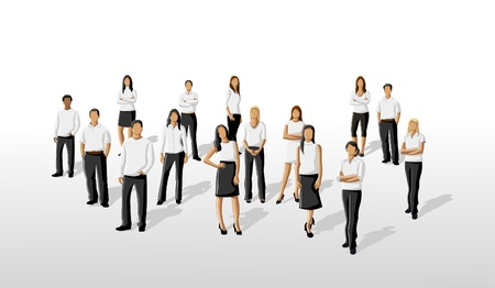 casual business team: Group of business people on white clothes