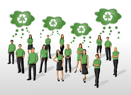 Eco illustration of a group of people in green clothes and recycling icon  Vector