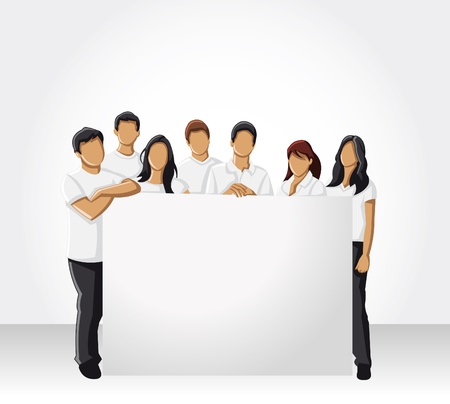 Group of people wearing white clothes holding white board Vector