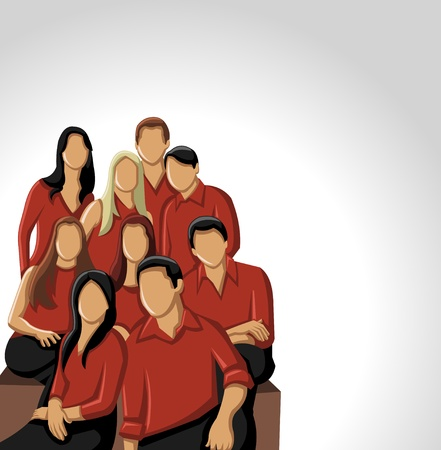sexual cartoon: Group people wearing red clothes