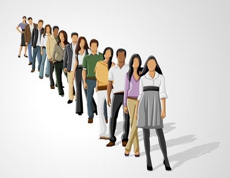 Sjabloon van een groep van business en kantoor mensen in een rij Vector Illustratie