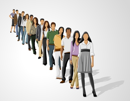 to queue: Template of a group of business and office people in a row Illustration