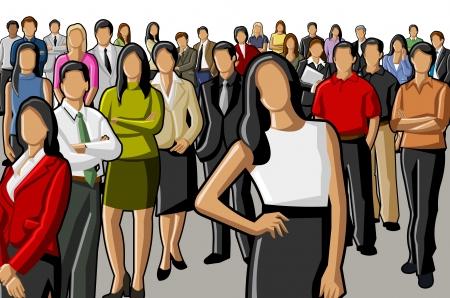 fila de espera: grupo de hombres de negocios y oficina
