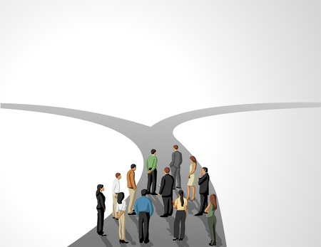 forked: Group of business people choosing the right path. Multiple options.