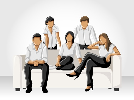 Template of a group people wearing white clothes on sofa Stock Vector - 16876009