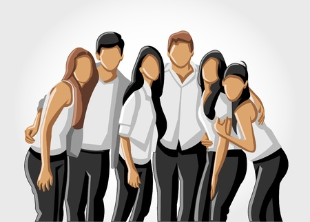Template of a group people wearing white clothes  Vector
