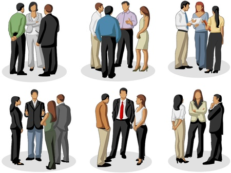 Group of business people on meeting Illustration