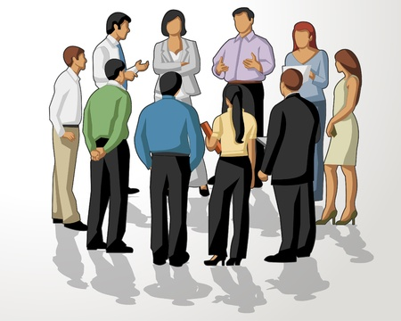 casual business team: Group of business people on meeting Illustration
