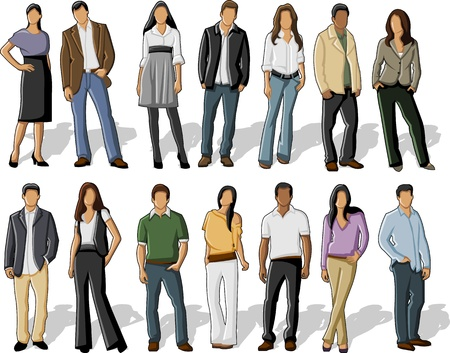 casual business: Group of business people  Illustration