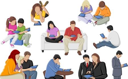 man on cell phone: El grupo de personas con las tabletas Vectores