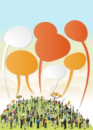 Crowd of business people talking by speech balloons on colorful park Vector