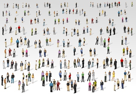 Big group of people on with background  Illustration
