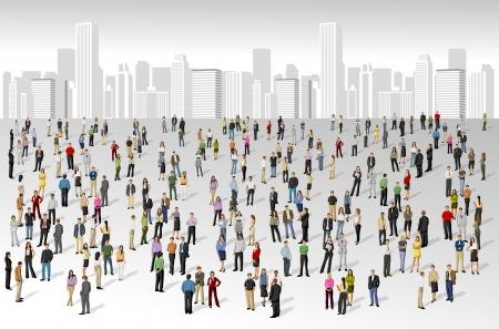 люди: Большая группа людей на города