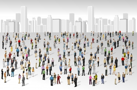 cartoon teenager: Big group of people on the city Illustration